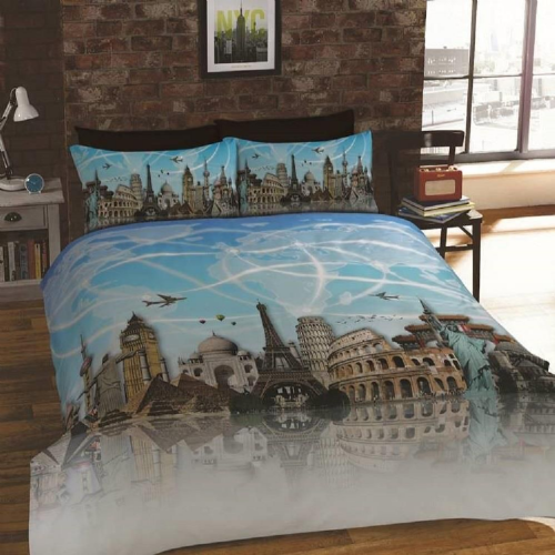 """All Around the World"" World Wide Landmarks, Single Duvet,""Urban Unique"" Rapport"